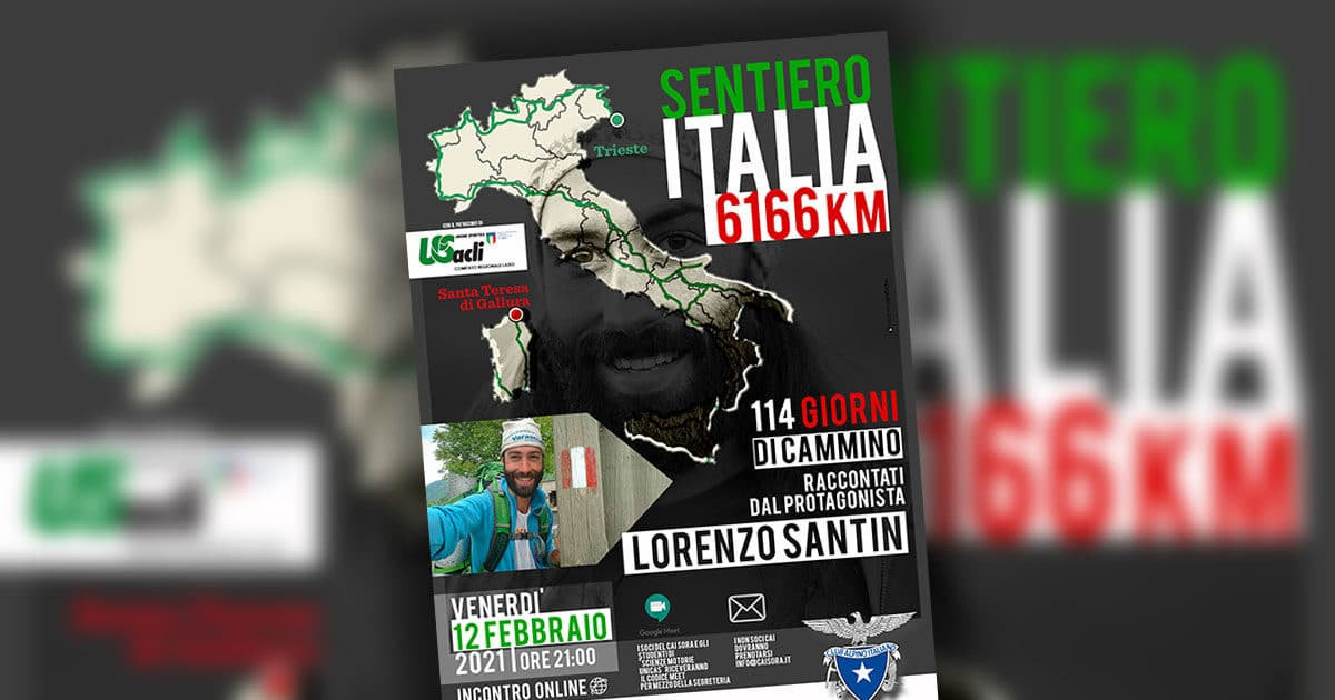 "CAI SORA: ""Sentiero Italia"", Venerdì 12 febbraio incontro online con Lorenzo Santin"
