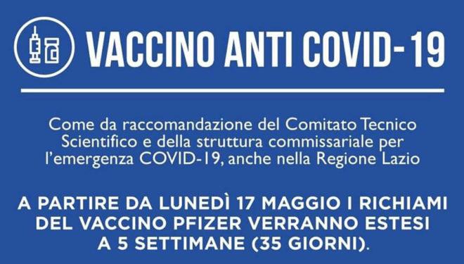 Vaccinazione anti-Covid: dal 17 Maggio richiamo Pfizer esteso a 35 giorni