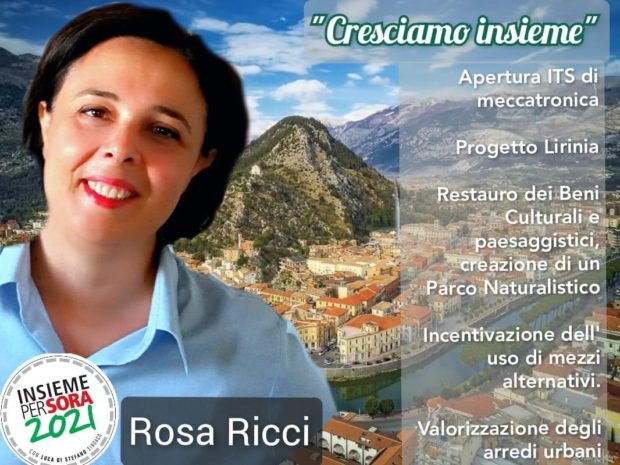 ELEZIONI SORA 2021 – Rosa Ricci a sostegno del candidato Sindaco Luca Di Stefano