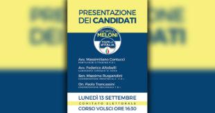 ELEZIONI SORA 2021 – Lunedì 13 presentazione della lista di Fratelli d'Italia