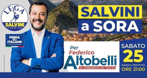 ELEZIONI SORA 2021 – Sabato sera Matteo Salvini in Piazza S. Restituta
